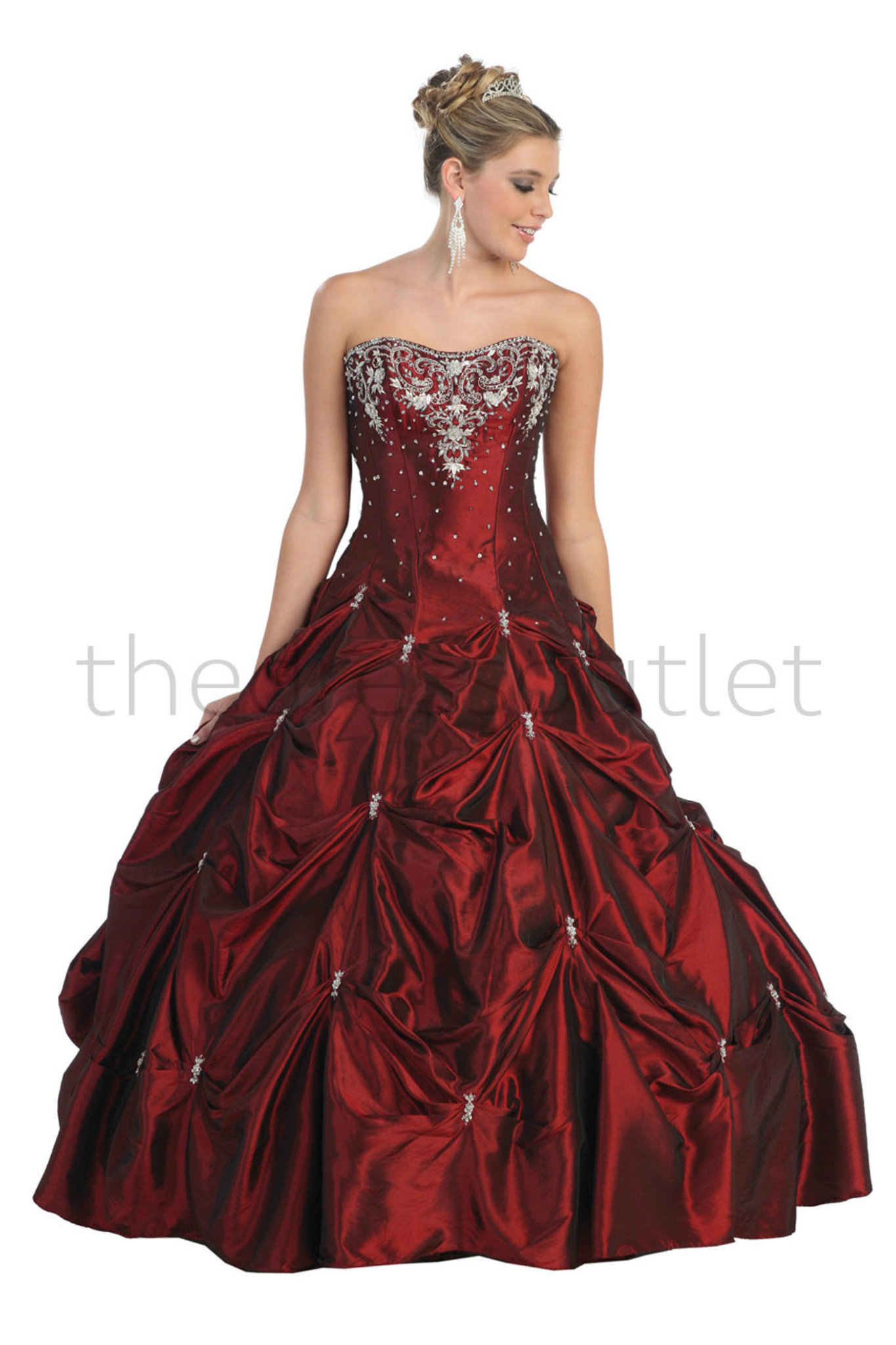 Quinceanera Strapless Beaded Sequins Taffeta Prom Formal