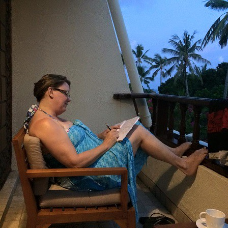 journalling on our balcony