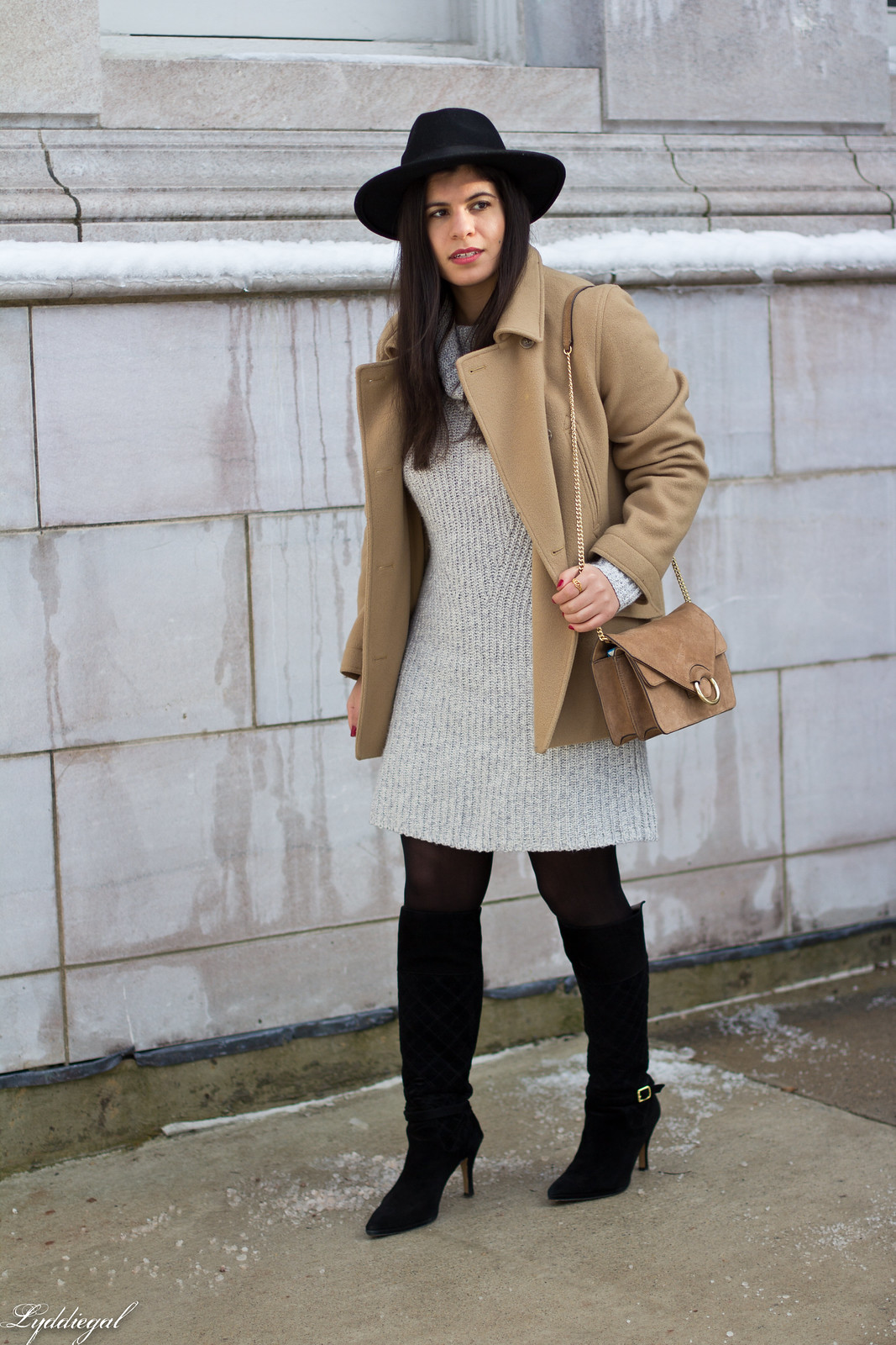 grey sweater dress, camel peacoat, black boots, winter outfit-1.jpg