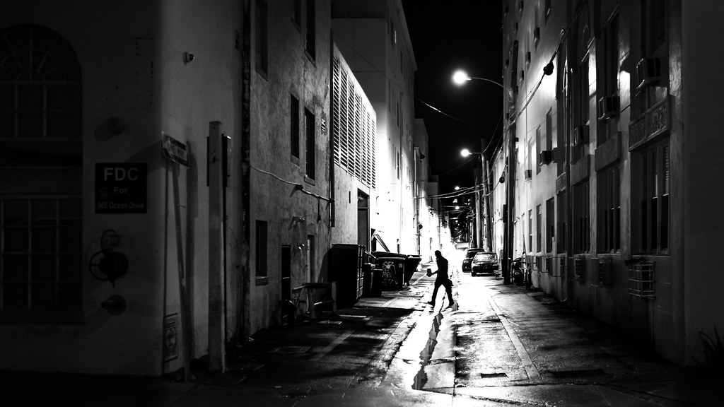 Working at night miami florida black and white street photography by giuseppe
