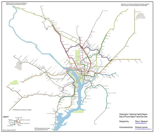 Conceptual Future integrated rail transit service network for the Washington DC National Capitol Region. Design by Paul J. Meissner.  Concept by Richard Layman and Paul Meissner.