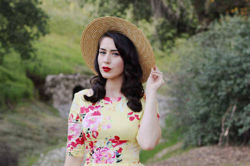 The Pretty Dress Company Hepburn in Lemon Seville Bettie Page Shoes Abela Heel in Red