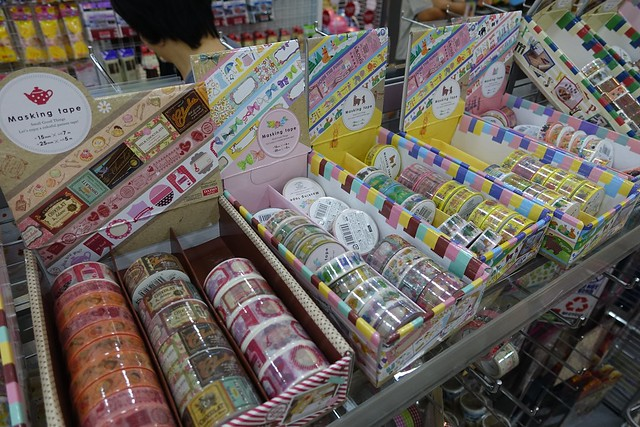 Wide selection of Washi tapes at Daiso's aisles.