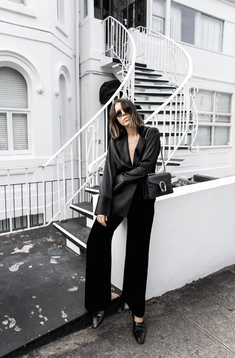 minimal all black outfit street style blogger modern legacy pyjama dressing Gucci dionysus leather bag (1 of 8)
