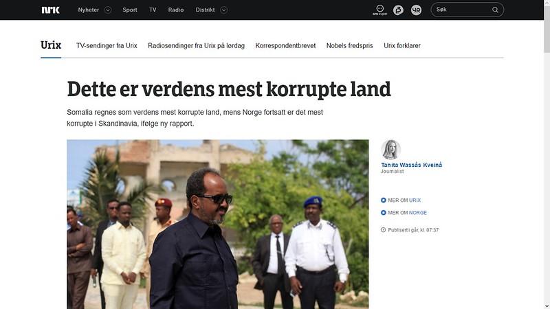 somalia verdens mest korrupte land