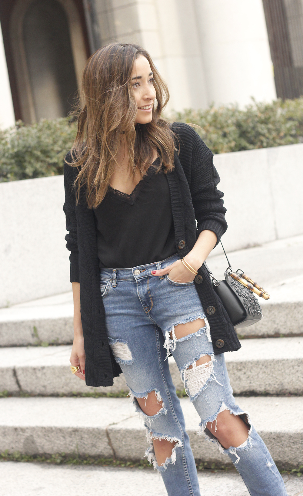 black lace top ripped jeans black cardigan uterqüe bag accessories outfit style fashion heels15