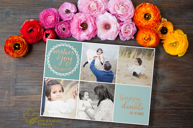 "Printable Diwali greeting card with rose gold foil image of ""Wishes & Joy""."