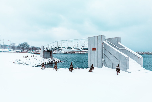 Snowy Lakefront Bridge