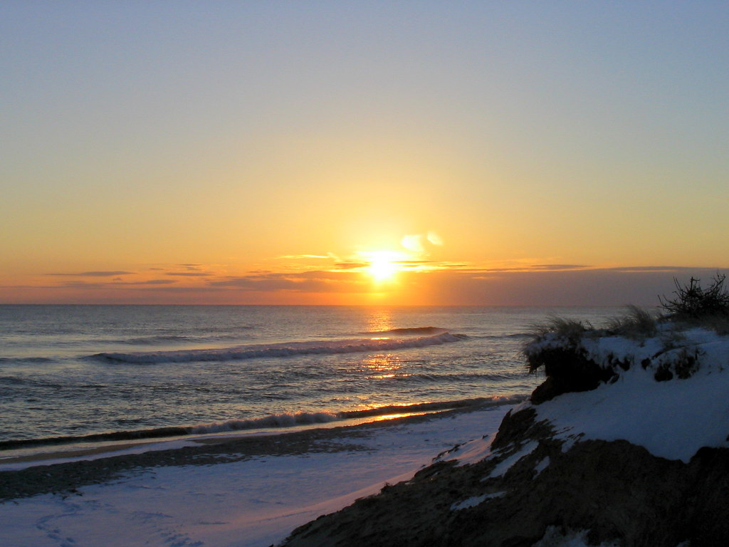 Snowy Sunset On Nantucket Madaket Beach Taken As The