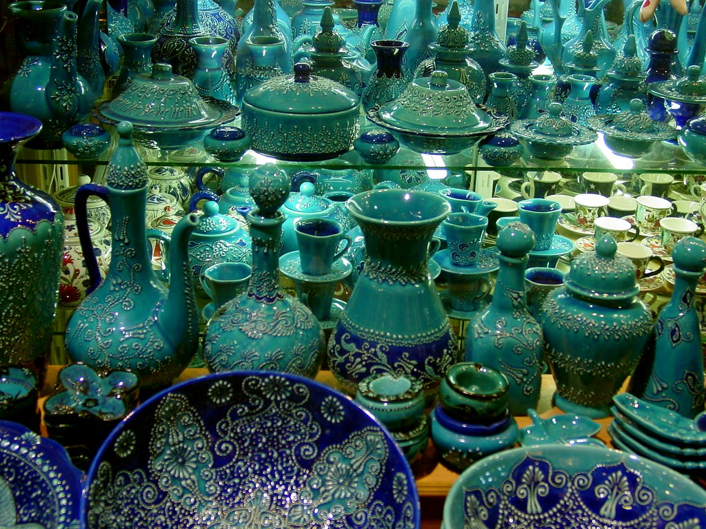 Grand Bazaar Istanbul Turkey Turquoise Pottery In The