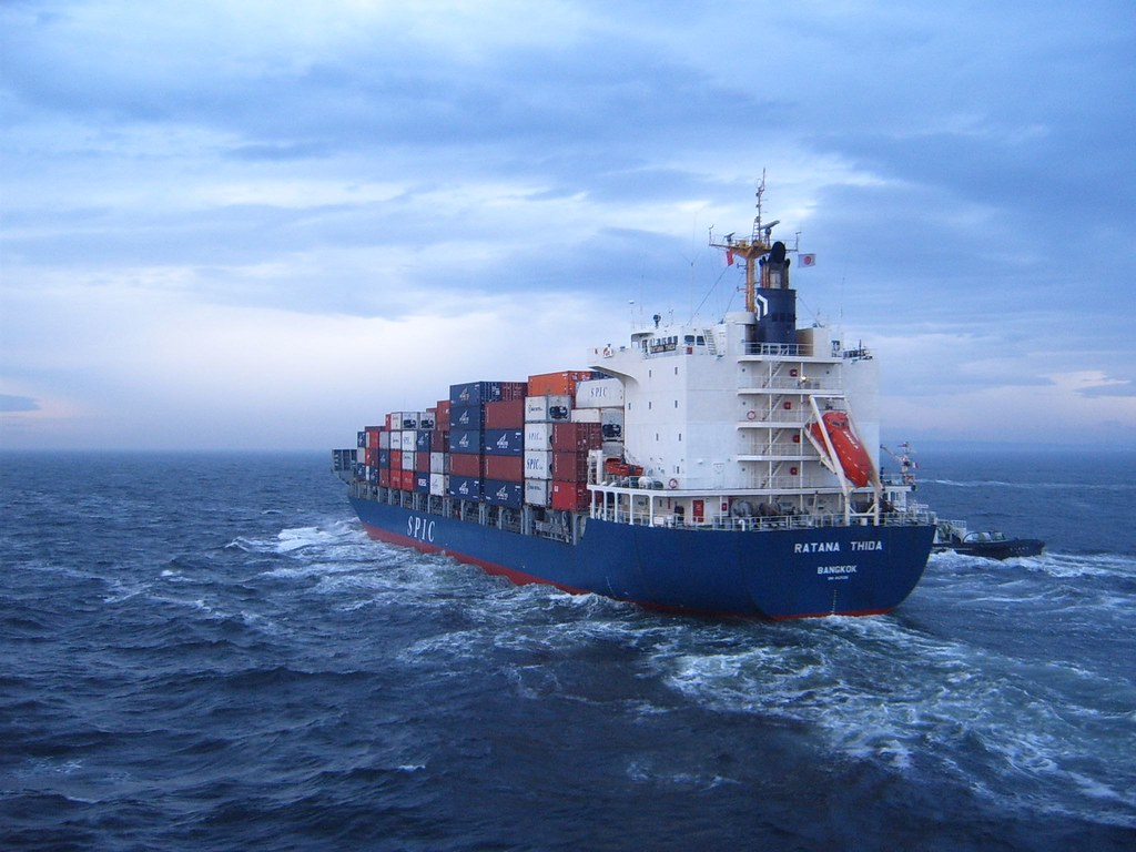 Container ship in rough sea | I tried several shots, but ...