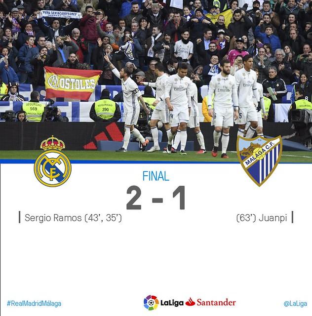 La Liga (Jornada 19): Real Madrid 2 - Malaga 1