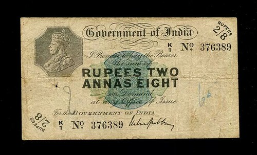 1917 India India 2 Rupees 8 Annas Banknote