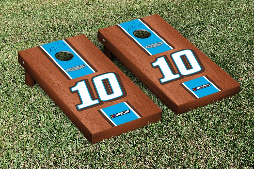 DANICA PATRICK #10 CORNHOLE GAME SET ROSEWOOD STAINED STRIPE VERSION