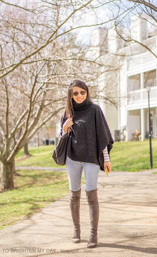 black knit turtleneck poncho, striped top, lightwash jeans, gray suede over the knee boots