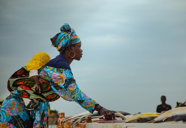 Mother processing her families catch of fish on Senegal's coast