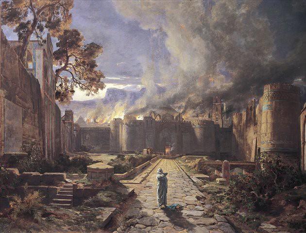 La destrucción de Sodoma y Gomorra, por Jules-Joseph-Augustin Laurens (1825-1901)