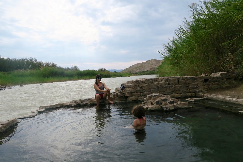 Maile and Anais in the hot springs on the Rio Grande