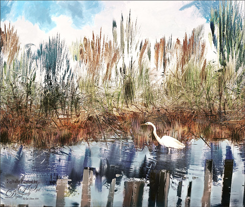 Painted image of an egret in a stream