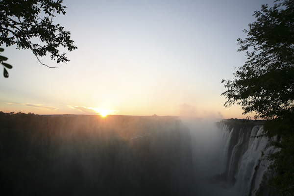 Sundowner over Victoria Falls