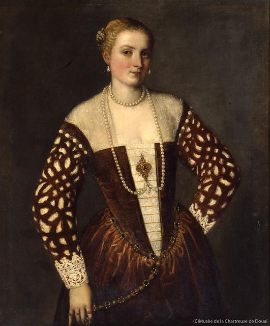 パオロ・ヴェロネーゼ《女性の肖像》(1565年、シャルトル会修道院美術館、ドゥエ蔵)