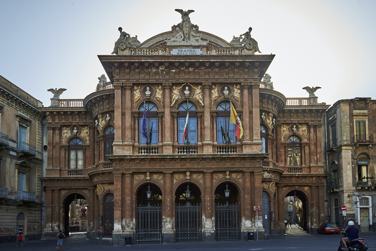 Обои опера, Катания, ночь, Театр Массимо Беллини, дома, сицилия. Города foto 12