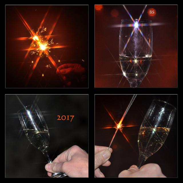 Jahreswechsel Silvester Neujahr 2017 Prost Neujahr ... Sekt, Wunderkerzen ... Fotos und Collagen: Brigitte Stolle, Mannheim