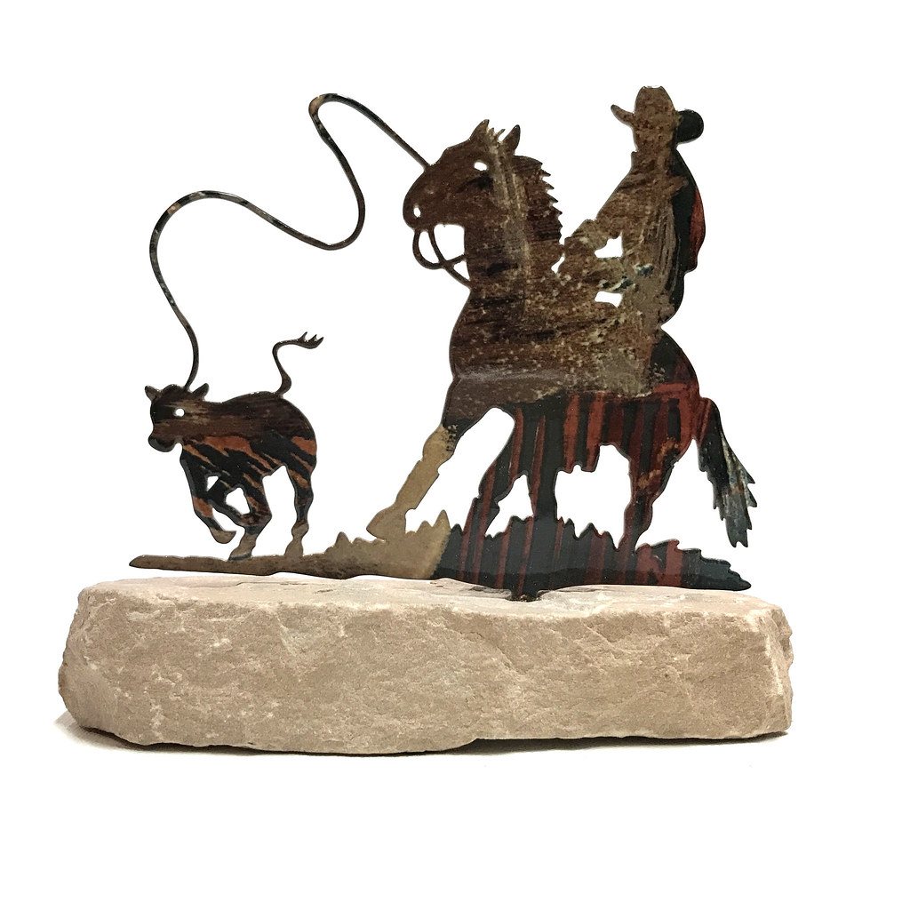 western home decor metal cowboy roper horse paperweight ebay. Black Bedroom Furniture Sets. Home Design Ideas