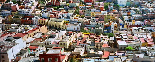Looking down at the brightly-coloured buildings of Zacatecas, Mexico