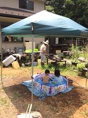 実家の庭でプール 2015/8