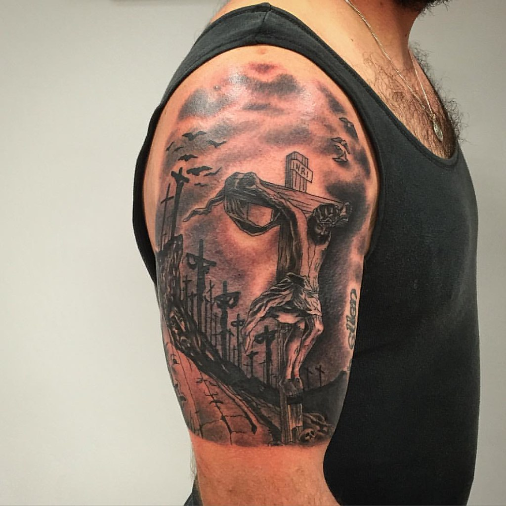 Jesus #andresgomeztattoo #ancientritualstattoo #shading #s
