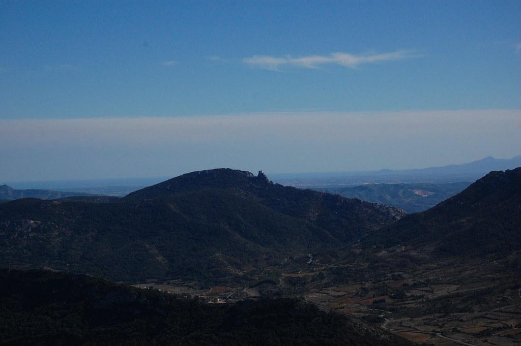 Castillos Cátaros de Quéribus desde Perypertuse