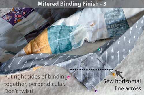 DWR:: Mitered Binding 3: Pin binding overlap, right sides together at a perpendicular angle and sew horizontal seam across