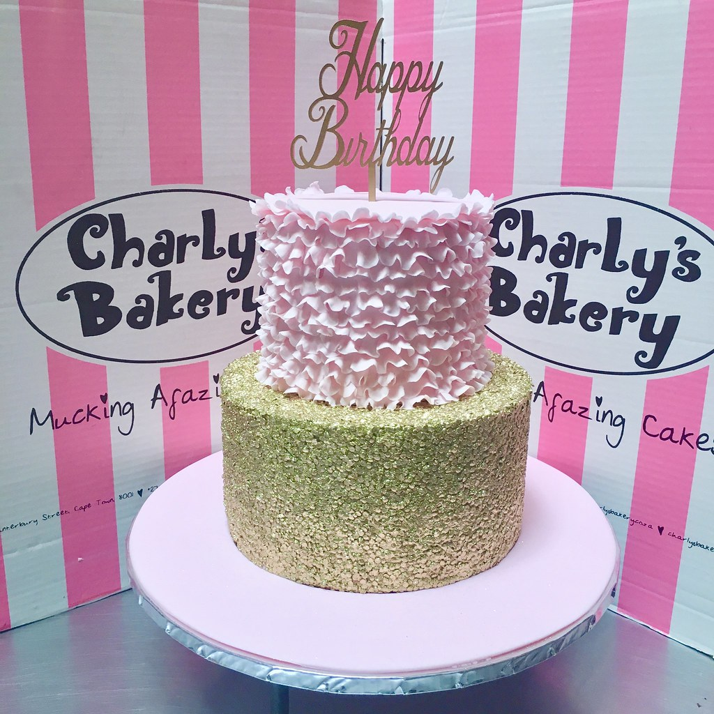 2 Tier Birthday Cake With Gold Sequins Bottom Pastel Pink Ruffles Top