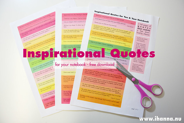 Inspirational Quotes for your Notebook - A Free Printable PDF 3 page