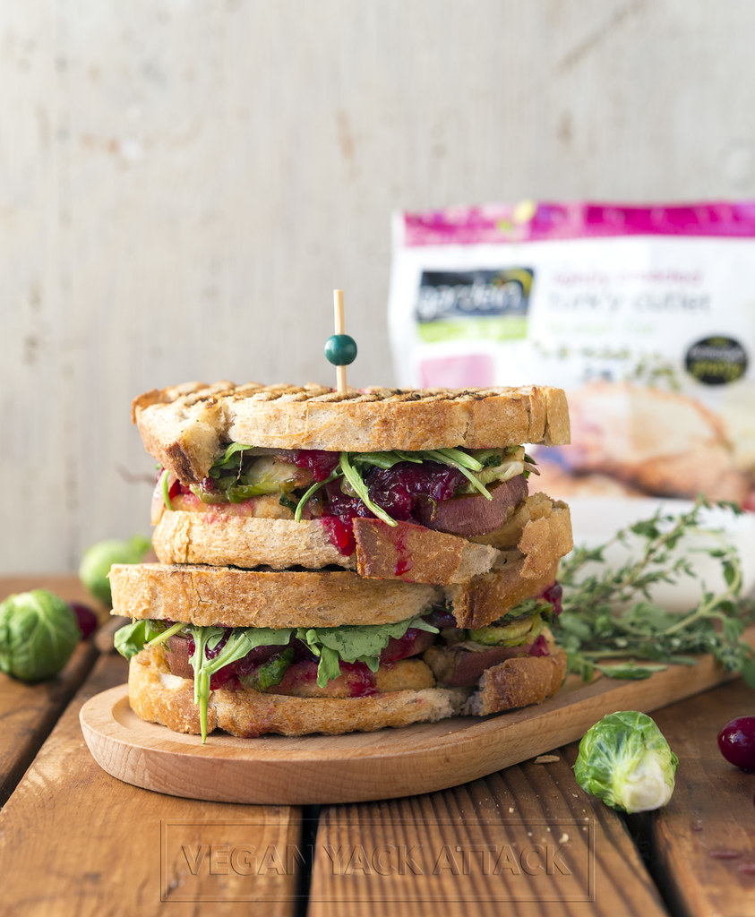 This delectable loaded holiday panini embraces simplified holiday dishes and puts them between two pieces of garlic herb brushed bread.