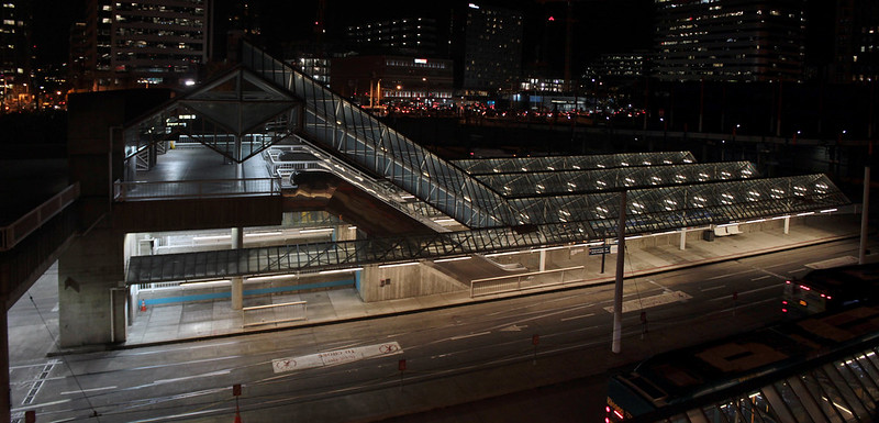 Convention Place Station at night