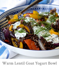 Warm Roasted Vegetable Lentil Bowl with Herby Goats Yogurt