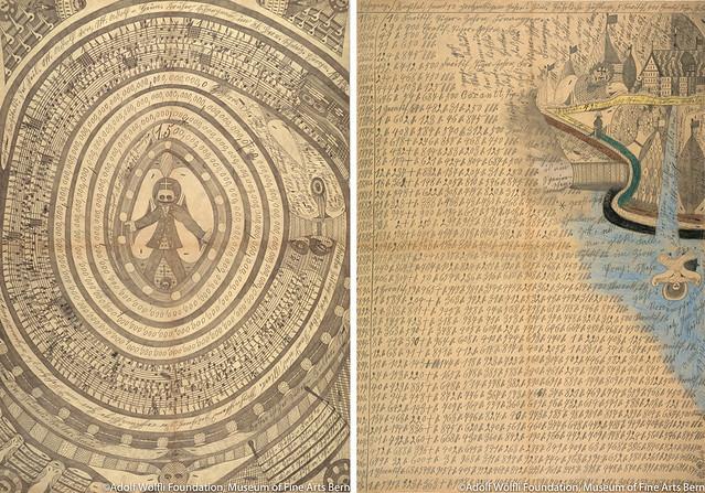 左)《二冊目の大きな本=行進曲》(1913年) 右)《シオン=ウォーター=フォール》(1914年) ベルン美術館 アドルフ・ヴェルフリ財団蔵