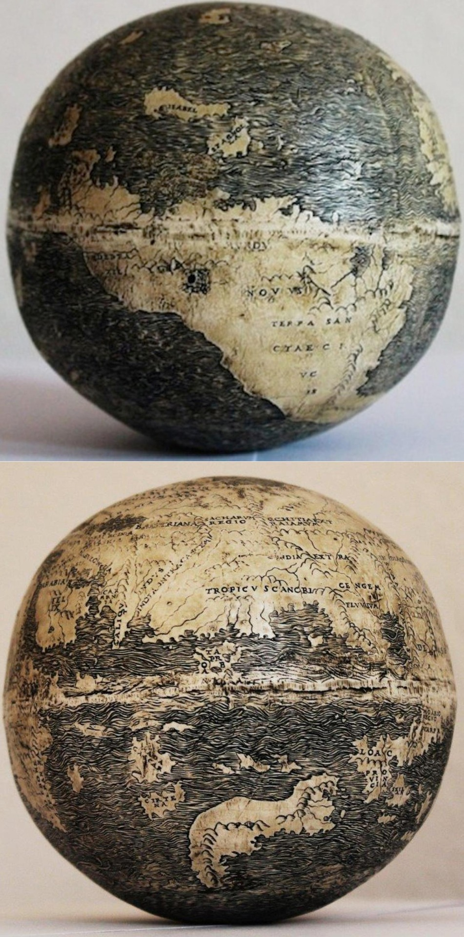 oldest known globe depicting the Americas, made on two lower halves of ostrich eggs 1504