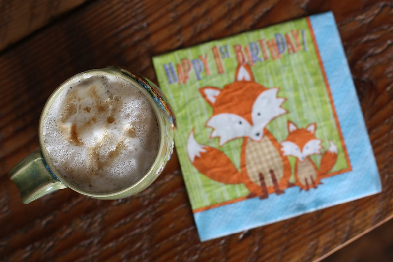 morning latte with the perfect birthday napkins
