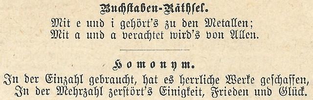 """Rätsel ... Buchstaben-Räthsel. Homonym - aus der """"Gartenlaube, Illustriertes Familienblatt"""", Ausgabe 1884"""