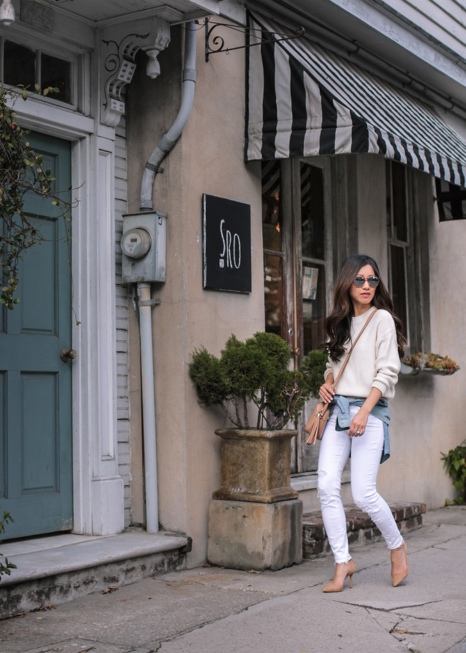 all white spring sweater outfit petite fashion blog