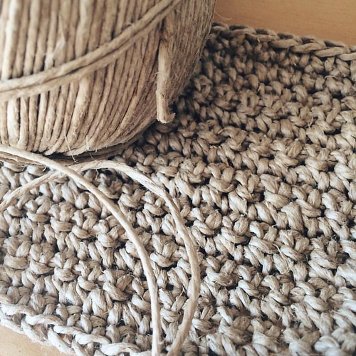 Crocheting hemp twine. Great texture and look but it's a serious test of hand and finger strength! #crochet #hemp #hempyarn | by Hazelnutgirl
