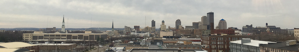 View of downtown Dayton, Ohio, as seen through the 4th story cupola of the Bossler Mansion, Dec. 13, 2015 (photo by the author)