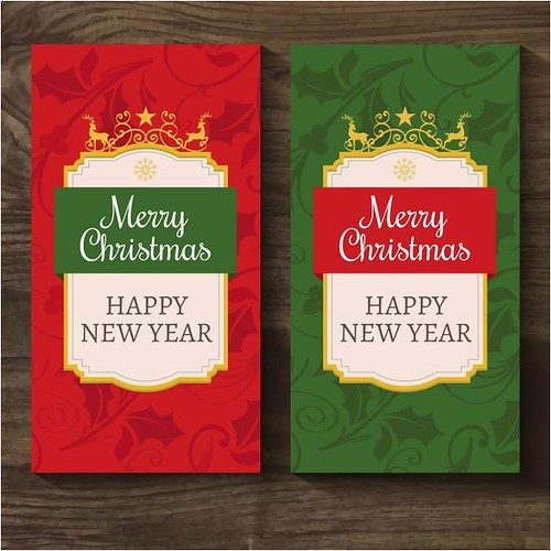 free vector Merry Christmas & Happy New Year Greeting Cards | by cgvector