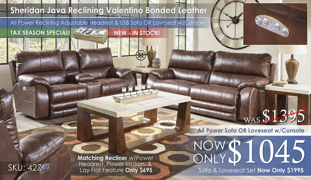 Sheridan Java Reclining Valentino Bonded Leather Collection 427-sheridan-steel-cu1692_TAX
