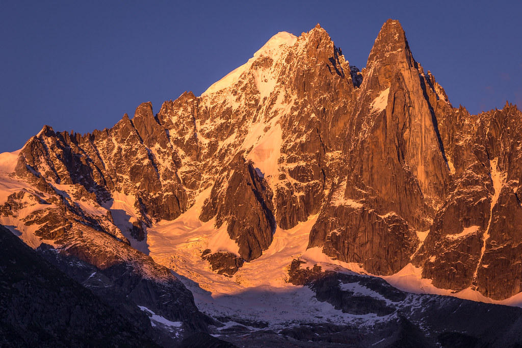 Sunset over the Aiguille Verte and Les Drus