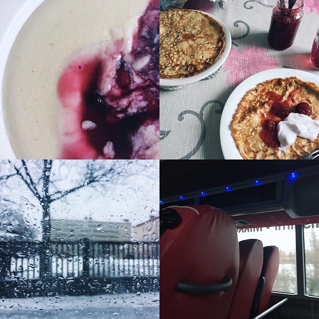 HomeBoundPicsIphoneDelicacyWinterRain, rainy winter weather, räntäkeli, winter, talvi, suomi, finland, pancakes, letut, mannapuuro, porridge, onnibus, breakfast, aamiainen, life,