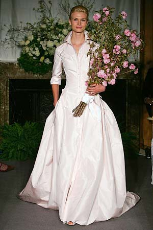 My wedding dress carolina herrera pink shirtdress wedding for Shirt dress wedding gown
